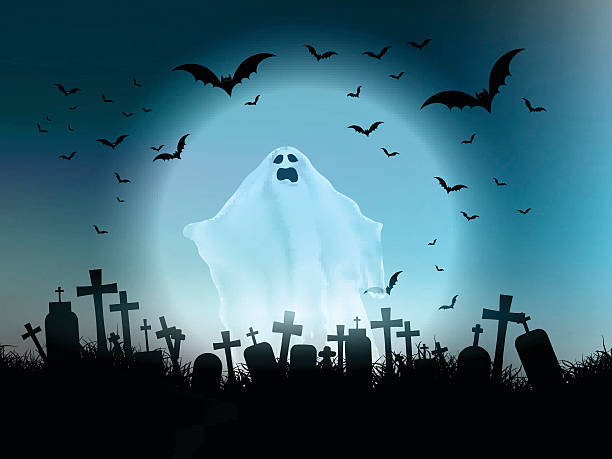 Halloween ghost landscape Halloween landscape with ghostly figure and cemetery scary halloween scene silhouettes stock illustrations