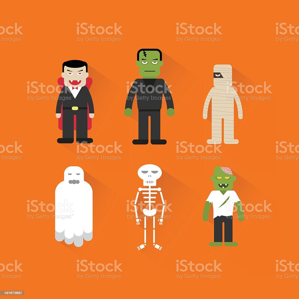 Halloween ghost & monster character vector art illustration