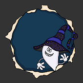 Scalable vectorial image representing a halloween ghost peeking out.