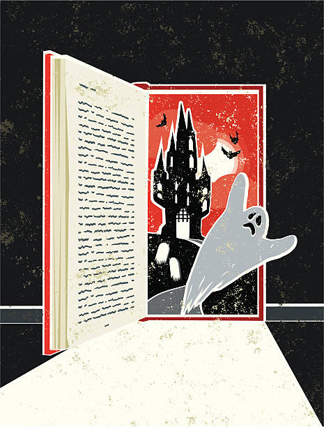 halloween geist story book türrahmen - geistergeschichten stock-grafiken, -clipart, -cartoons und -symbole