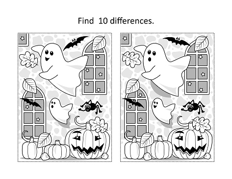 Halloween ghosts find the differences picture puzzle and coloring page