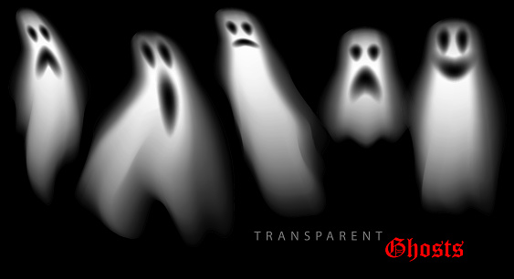 set of halloween ghosts design elements