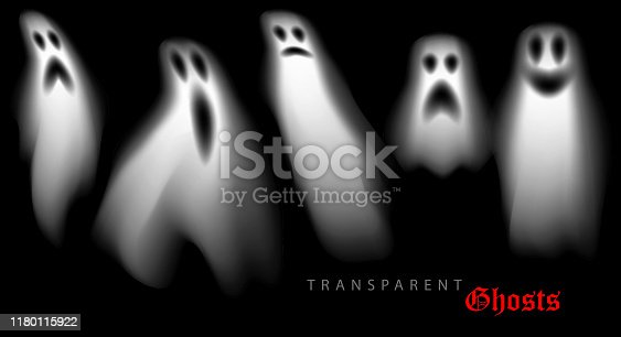 set of halloween ghosts design elements