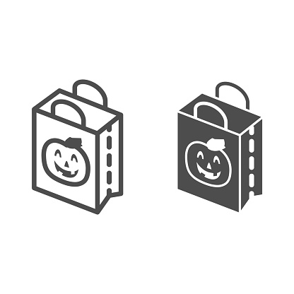 Halloween Gift Bag line and solid icon, Halloween concept, shopping bag with scary face sign on white background, package with pumpkin icon in outline style for mobile and web design. Vector graphics.