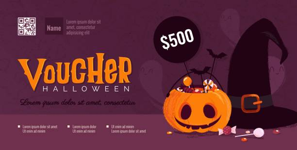 halloween gift voucher template with pumpkin and witch hat. - halloween candy stock illustrations