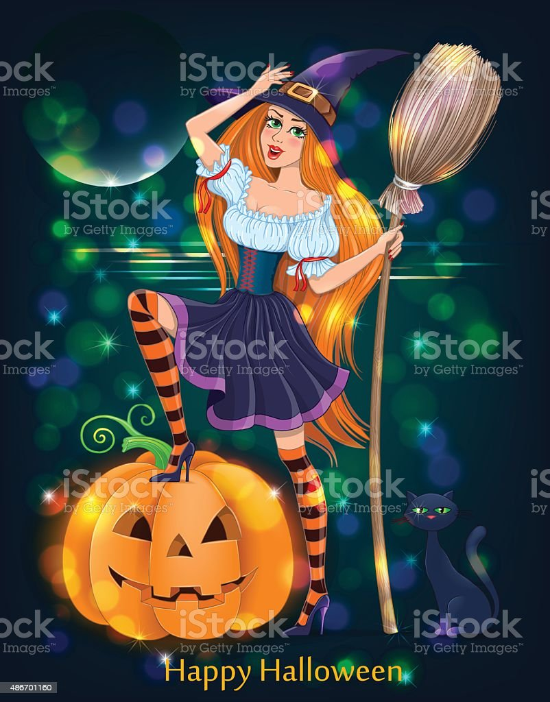 halloween girl night stock vector art & more images of 2015