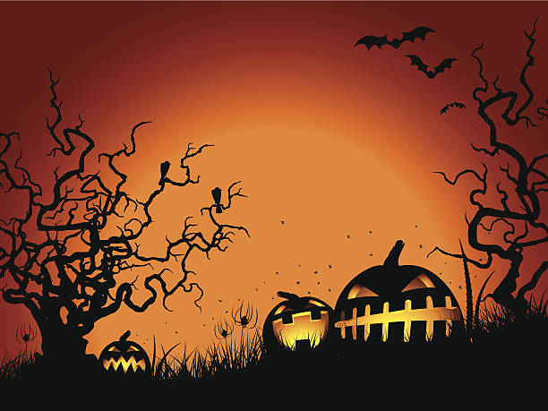 Halloween gnarled tree & pumpkins Halloween gnarled tree & pumpkins scary halloween scene silhouettes stock illustrations