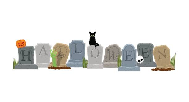 halloween. grave and hand of zombie. black cat and skull. sinister pumpkin. gravestone in cemetery. illustration for terrible holiday - tombstone stock illustrations, clip art, cartoons, & icons