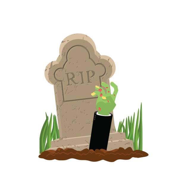 bildbanksillustrationer, clip art samt tecknat material och ikoner med halloween. graven och hand av zombie. gravsten och arm döda man. illustration för fruktansvärda semester - grav