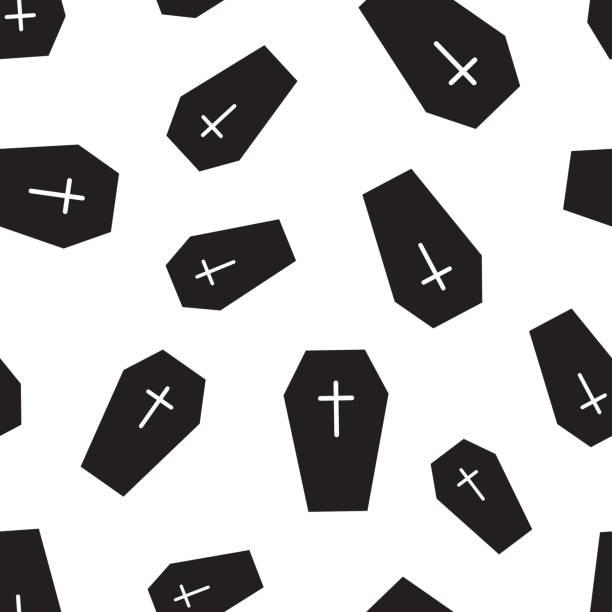 stockillustraties, clipart, cartoons en iconen met halloween ernstige naadloze patroon achtergrond. zakelijke platte vectorillustratie. rip grafsteen grafsteen teken symbool patroon. - funeral crying