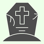 Halloween grave solid icon. Cemetery with cross glyph style pictogram on white background. Creepy tombstone with crack and cross for mobile concept and web design. Vector graphics