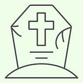 Halloween grave thin line icon. Cemetery with cross outline style pictogram on white background. Creepy tombstone with crack and cross for mobile concept and web design. Vector graphics