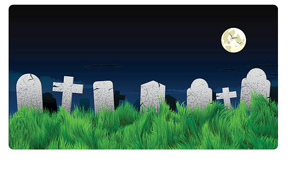 halloween graveyard and tombstone background - tombstone stock illustrations, clip art, cartoons, & icons