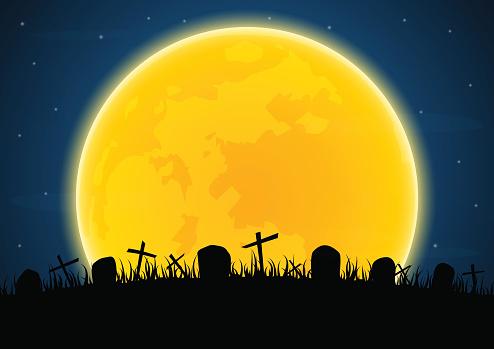 Halloween graveyard cross grave