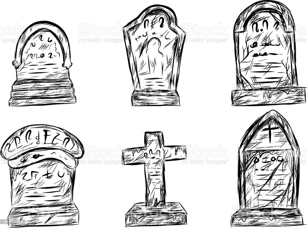 Halloween Friedhof Skizzieren Von Hand Zeichnen Stock Vektor Art Und