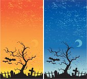 halloween graveyard in two colorways.  Download includes EPS8 and CS3 files.