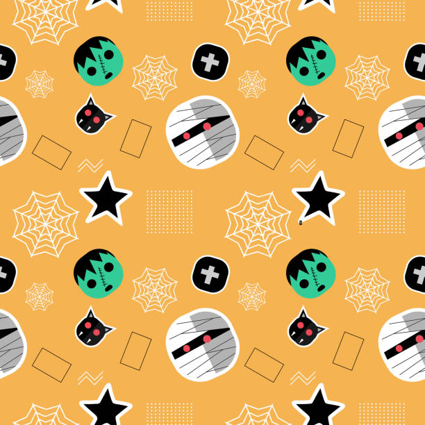 Halloween green frankenstein and mummy seamless pattern Halloween green frankenstein and mummy seamless pattern. vector illustration for fashion textile print and wrapping with festive design. tarantula stock illustrations