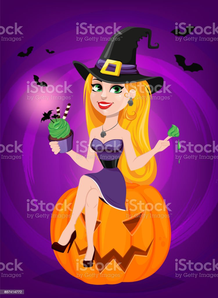 Beautiful lady witch wearing pilgrim hat sitting on pumpkin and eating cake e48c8c9d7a7