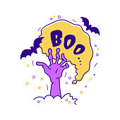Halloween greeting card Boo lettering. Hand drawn Doodle icons - Hand from the grave, bats, bubble speech with the inscription Boo. Vector