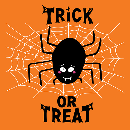 Halloween greeting card. Cute cartoon black spider with guilty look, white cobweb and trick or treat lettering on orange background. Vector stock illustration.