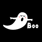 """Halloween greeting card Ghost with blush speech """"Boo"""". Doodles hand drawn illustration on black background."""