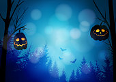 Halloween greeting card, invitation with spooky glowing pumpkins, dark forest and flying bats. Night horror scene. Vector illustration background, web banner