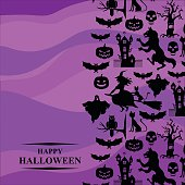 Halloween greeting card on purple background