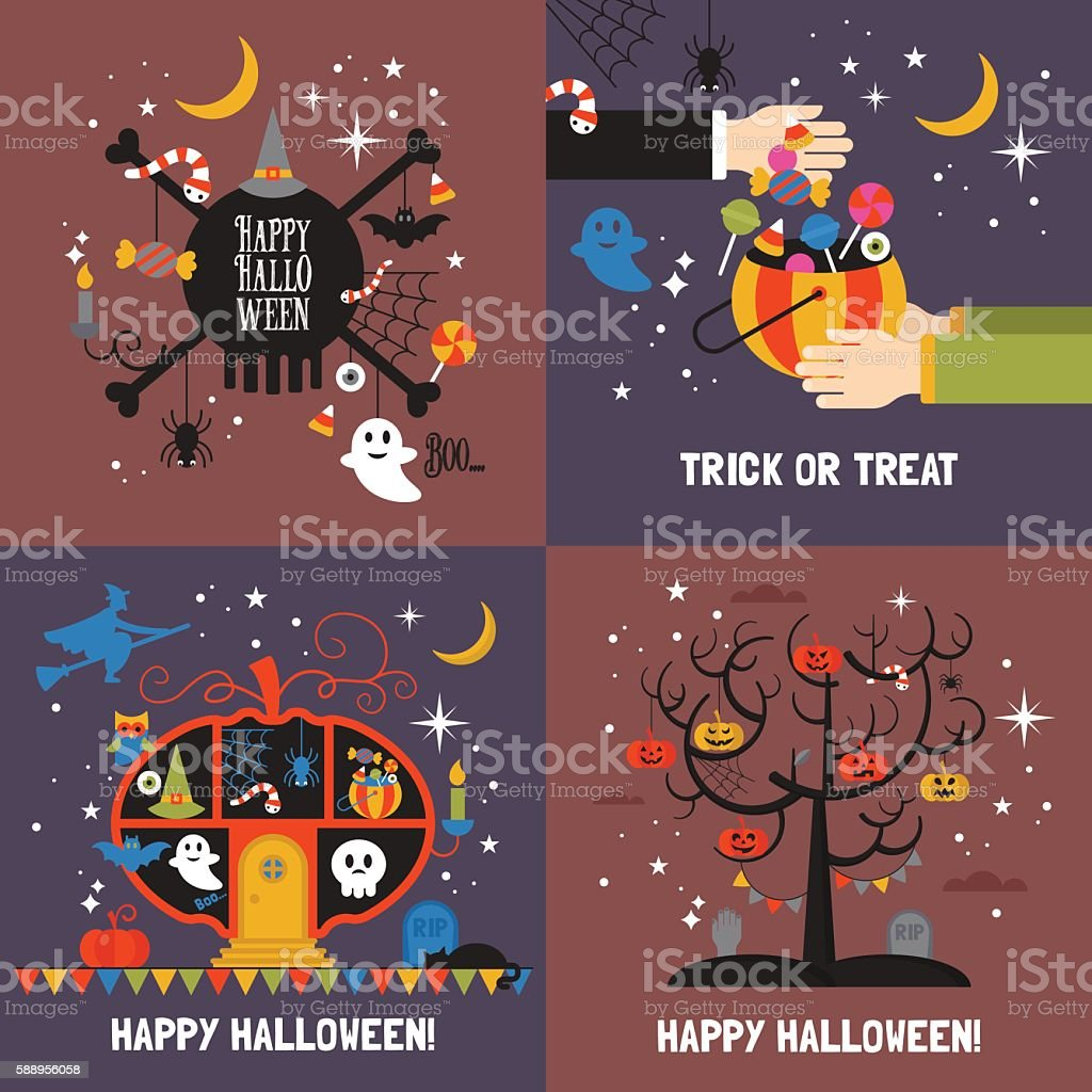 Halloween greeting card set for web and graphic design vector art illustration