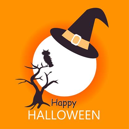 Halloween greeting card template. Vector cartoon illustration
