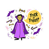 Halloween greeting card, Trick or Treat inscription. Hand drawn Doodle icons - Vampire Dracula, candies, bats, bubble speech with the inscription Trick or Treat. Vector illustration