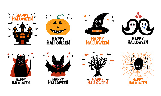 Halloween greeting cards set. Castle, jack o lantern, witch hat, ghost, cat, bat, dry tree, spider. Isolated on white background. Vector stock illustration.