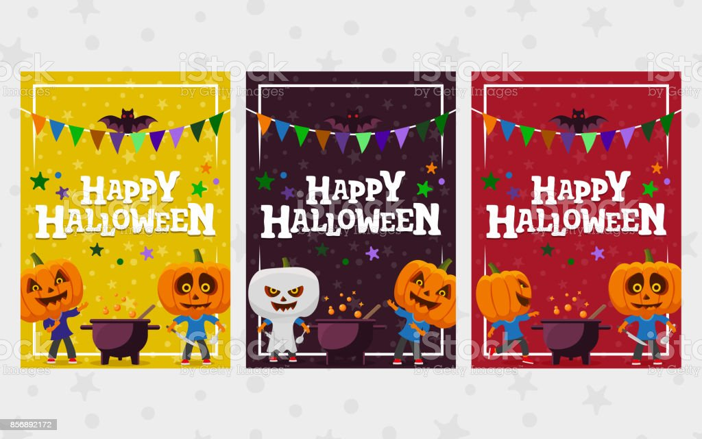 Halloween greeting cards. Set of banner in a flat style. Man with a pumpkin head vector flat illustration. vector art illustration