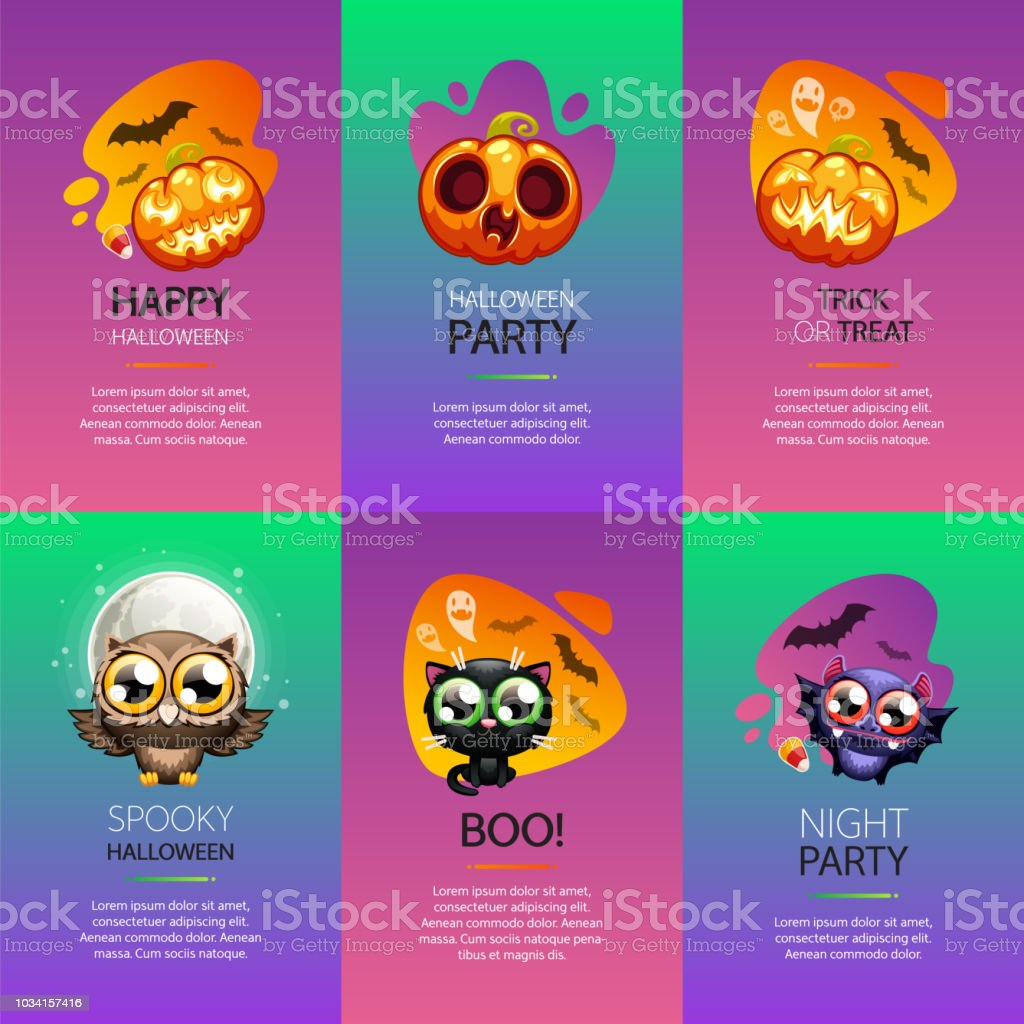 Halloween Greeting Cards Vibrant Set Stock Illustration Download Image Now Istock