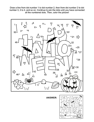 Halloween greeting join the dots puzzle and coloring page