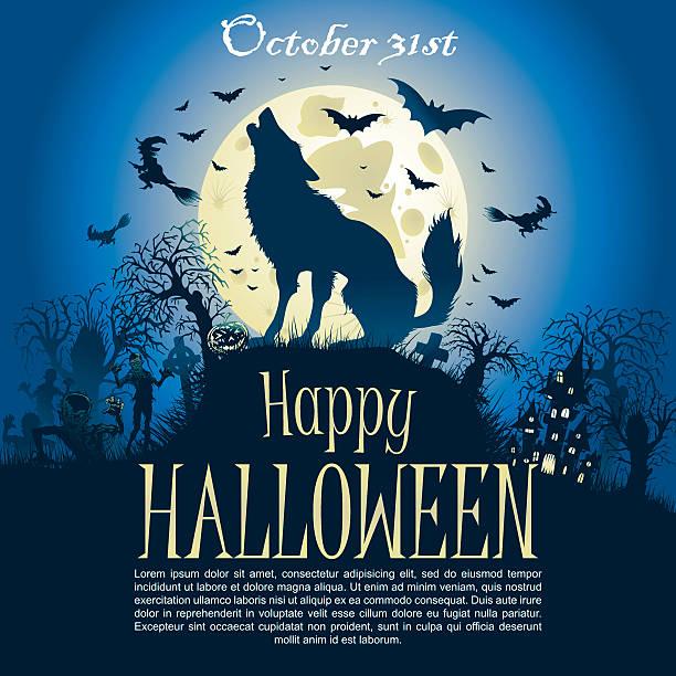Halloween greeting wolf card – Vektorgrafik