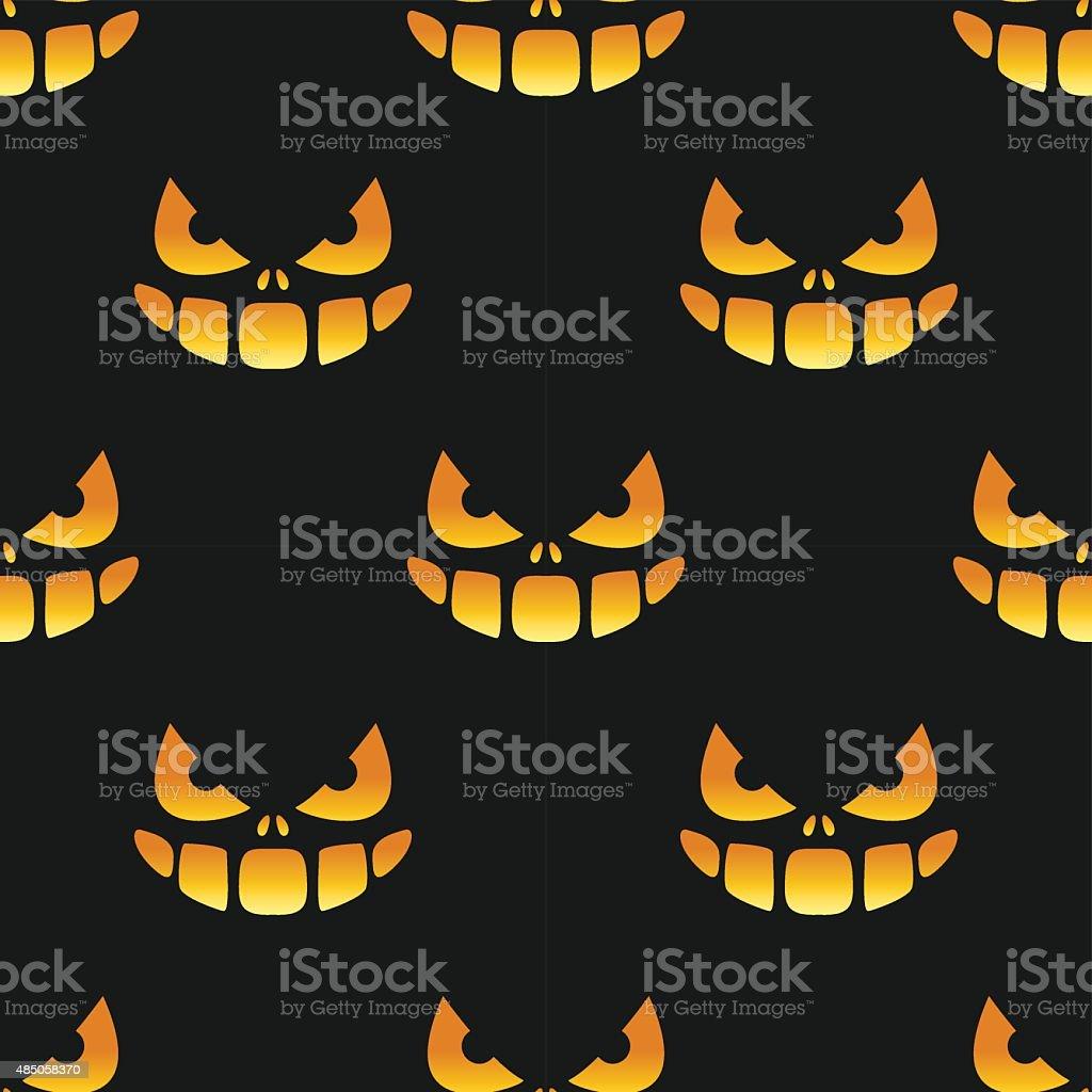 Halloween Grin and Eyes Seamless Pattern vector art illustration