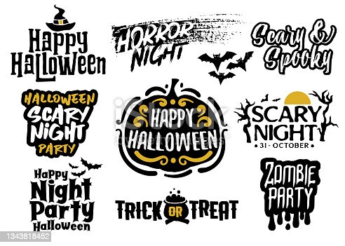 istock Halloween group of lettering greetings and logos 1343818452