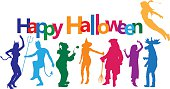 A vector silhouette illustration of young adults partying and dancing. They are multicoloured as well as the text box above which reads Happy Halloween.