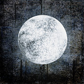 Halloween grunge background with full moon on dark spooky night cloudy sky. Halloween, horror and astrology concept. Space for text.