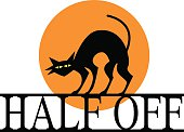Vector illustration of a black cat standing on a HALF OFF sign with an orange moon behind it.