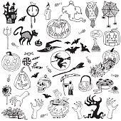 Halloween Hand Drawn Set on the White Background.
