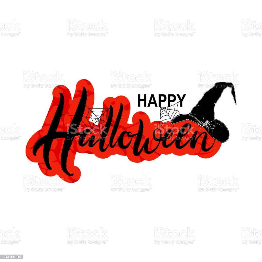 Halloween Handgezeichnete Vektorillustration Mit Spinne Hexenhut Und