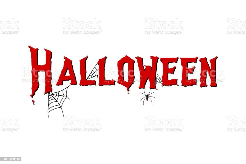 Ilustración de Mano De Halloween Bosquejó Letras Con Araña Y Web ...