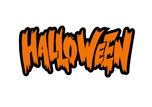 «Halloween» hand written isolated lettering with black stroke in graffiti style for party invitation, badge, sticker, poster, banner, flyer, greeting card. Vector Illustration for celebration
