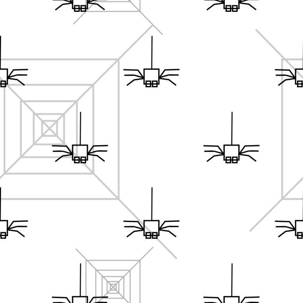 Halloween hanging spider and web spider seamless pattern Halloween hanging spider and web spider seamless pattern. vector illustration for fashion textile print and wrapping with festive design. tarantula stock illustrations