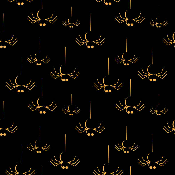Halloween hanging spider dark seamless pattern Halloween hanging spider dark seamless pattern. vector illustration for fashion textile print and wrapping with festive design. tarantula stock illustrations