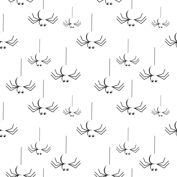 Halloween hanging spider seamless pattern Halloween hanging spider seamless pattern. vector illustration for fashion textile print and wrapping with festive design. tarantula stock illustrations