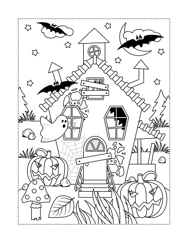Halloween haunfed house coloring page