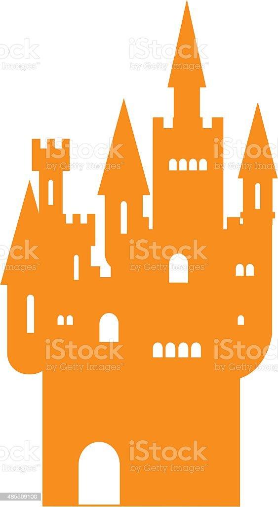 halloween haunted castle silhouette in orange royalty free stock vector art