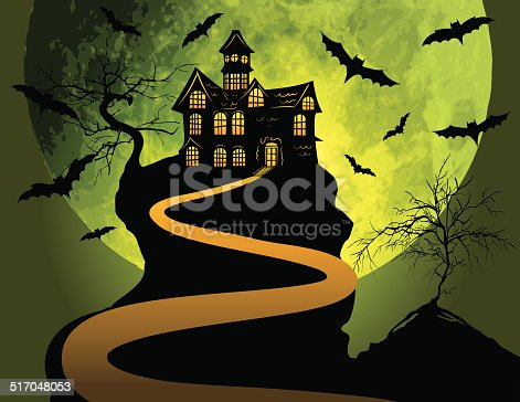istock Halloween Haunted House Background With Moon and Bats 517048053